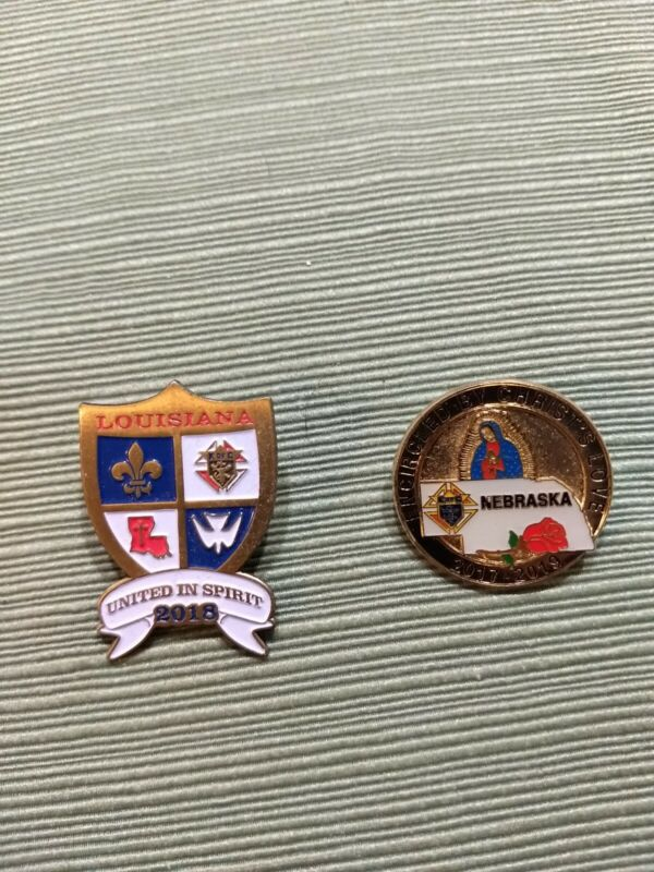 Knights of Columbus State Pins Louisiana & Nebraska 2018 (Never Worn)