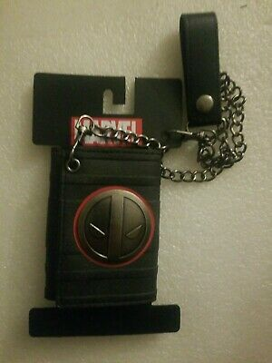 NWT Marvel Comics Deadpool Trifold Chain Wallet with Metal Logo Badge