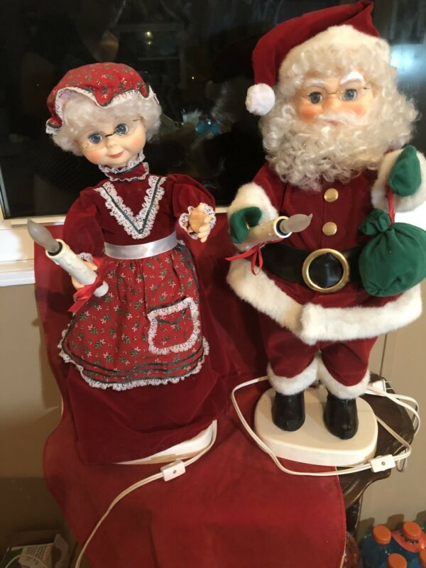 "Motion-ettes 24"" Mr & Mrs Clause Animated & Illuminated AS IS"