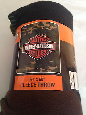 SALE SAVE Harley Davidson Camo fleece blanket  throw NEW