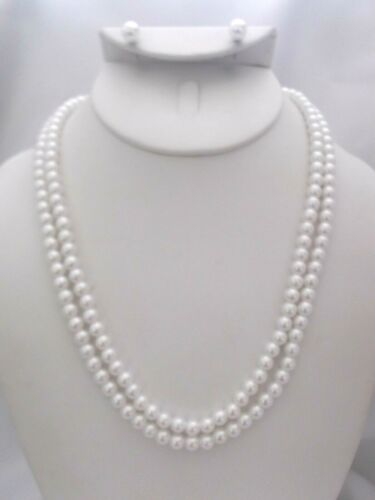 """Pierced silver white pearl 2 layer 19""""necklace and .04 earring set"""