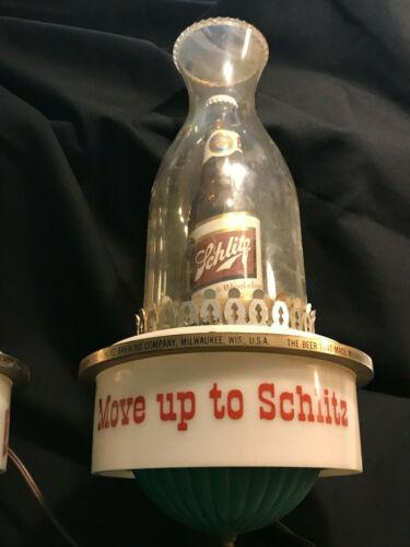 Vintage 1959 Schlitz Beer Oil Lamp Sconce Move Up to Schlitz Bar Light 11/19