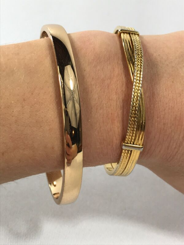 """Lot Gold Tone Cuff Bracelets Textured  Crossover  Shiny Bright """"Love you Always"""""""