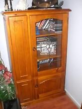 Baltic pine lead light display cabinet with DVD storage Wallaroo Copper Coast Preview