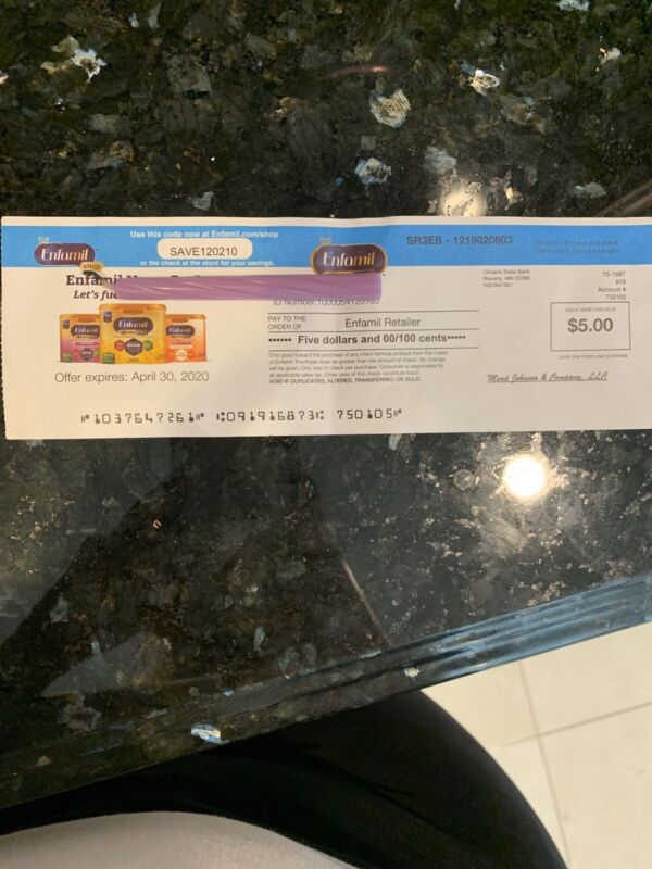 $40 Enfamil Baby Formula Coupons/Checks Expire 7/31/20