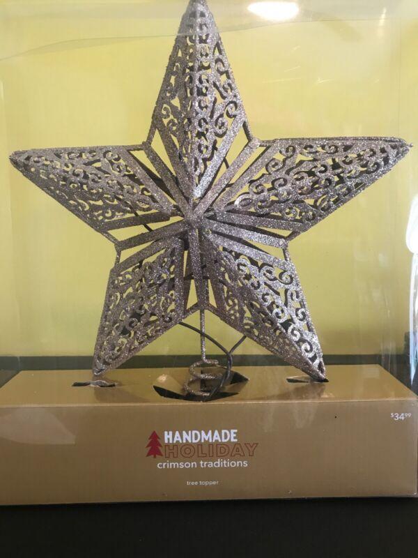 Handmade Holiday Crimson Traditions Tree Topper Christmas Gold Star
