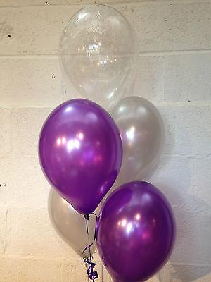 30 Purple, Silver and 'Happy Birthday' Range Pearlised Latex Balloons