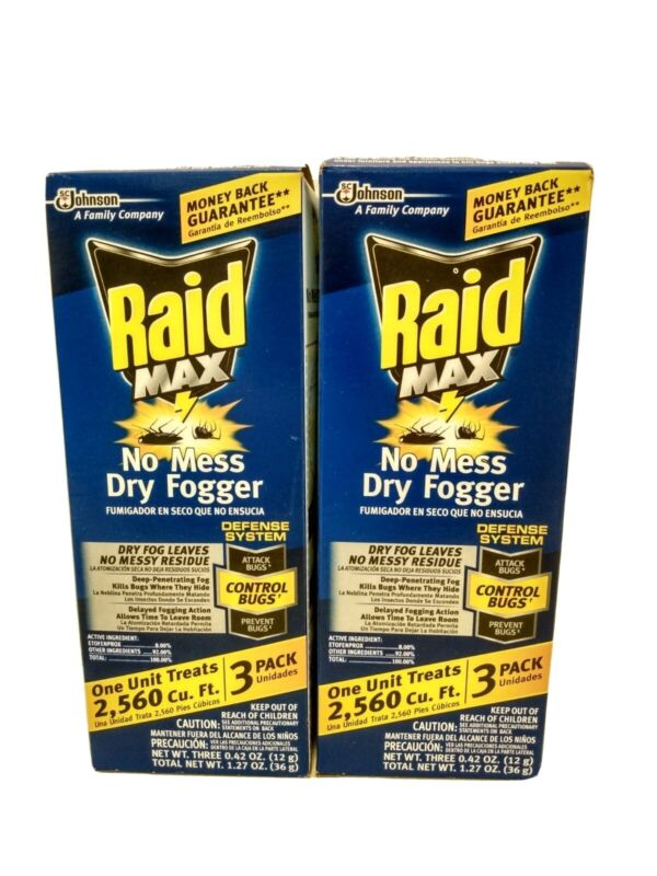 (2) 3ct RAID MAX Dry Fogger Fumigator Indoor Insect Control Bug Bomb Canister
