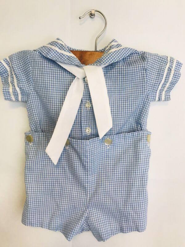 Vintage Baby Boys Sailor Outfit 2 Piece Sailor Suit Size 3 Months Blue Check