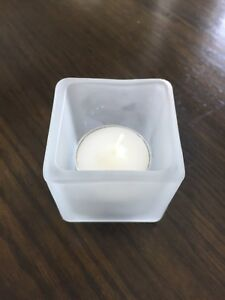 24 frosted glass tea light candle holders