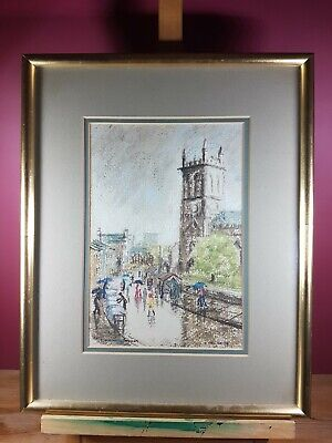 STOCKPORT MARKET MIXED MEDIA ARTWORK BY LIZ TAYLOR DATED (19)78
