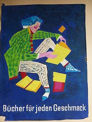 """Originalzeichnung Werbung Plakat """"Bücher für jeden Geschmack"""" Horst BEISSWENGER"""