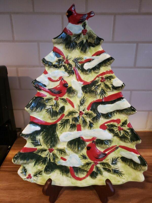 "PIER 1 Christmas Tree Platter Holly Birds Cardinal Ribbon Holly Pine Snow 14.5"""