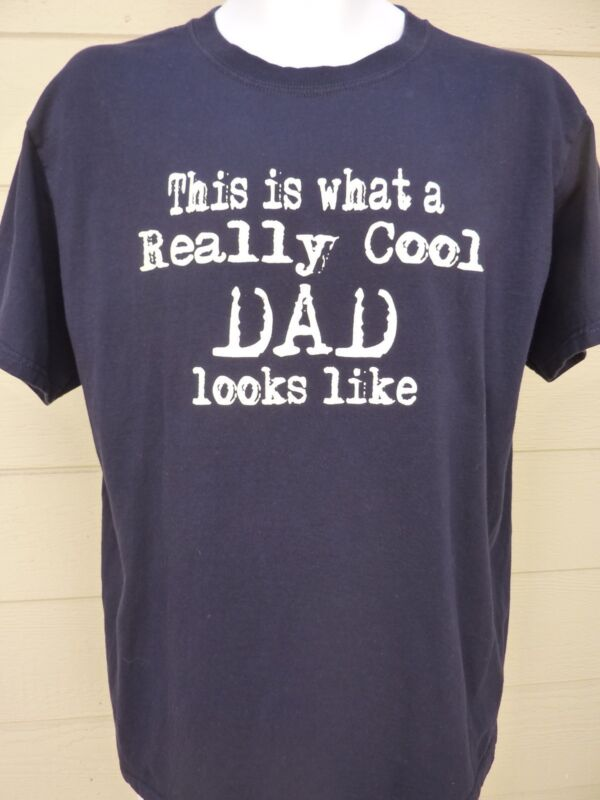 "Men's Fathers' Day ""Really Cool Dad"" Graphic T-Shirt / 100% Cotton / Navy / L"