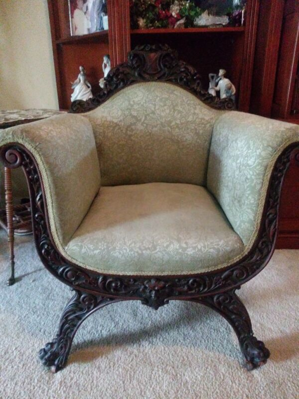 Antique Mahagany Carved Thorn Chair with Claw feet - very nice