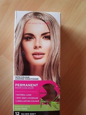 Derma V10 Salon Fashion Hair Colour Permanent Dye Aloe Vera 12 Silver Grey