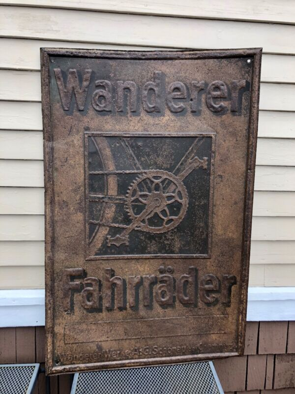 Antique Wanderer Fahrrader Bicycle Trade Sign, Tin Repousse, German