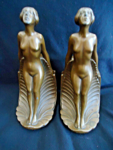 ANTIQUE FRANKART  ART DECO BOOKENDS - NYMPHS AND LEAVES- BRONZE FINISH #518