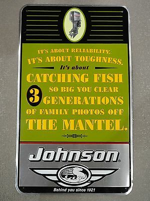 """Johnson Outboard Motor Sign Pre-Bankruptcy Vintage """"Its About Reliability...""""  C"""