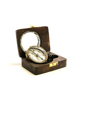 Brass Nautical Antique Style Dolland London Compass In Wooden Box ~ Nautical