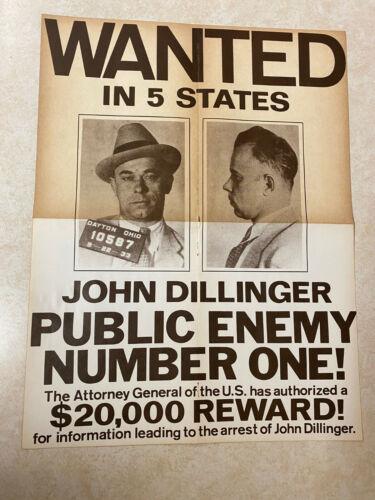 *rare, Holy Grail* 1934 JOHN DILLINGER Wanted Poster MUG SHOT FBI Dayton Ohio