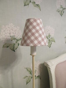 Handmade Candle Clip Lampshade Laura Ashley Gingham fabric