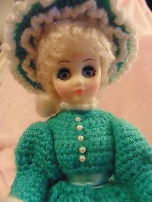 "14"" Doll with handmade crocheted skirt,top,hat carring umbrella with stand green"