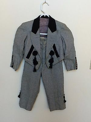 Vintage Little Boy's Gray Flannel Torreador Bull Fighter Costume Spain - 1950s Boy Costume