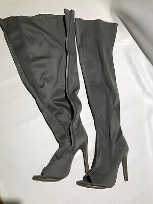 Thigh High Open Toe Boot 9 Gray Stretch Nylon Sock Over The Knee Darker Color (Open Toe Thigh High Socks)