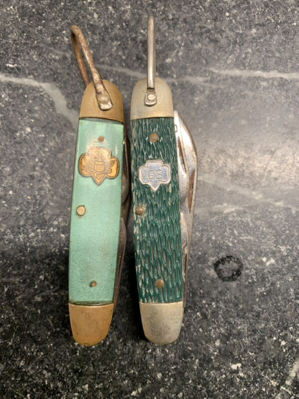 2 Old Girl Scout Picket Knives Lot