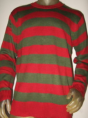 Lg A Nightmare On Elm St Street Movie Freddy Krueger Knit Stripe Costume Sweater - Nightmare On Elm Street Costume