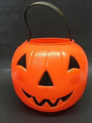 Vintage Carolina Blow Mold Orange Pumpkin JOL Candy Treat Bucket Pail Halloween