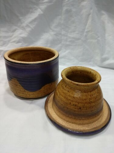 Vintage Stoneware Pottery Butter Bell Crock Signed Fox Pass 87 Purple Glaze - $25.00