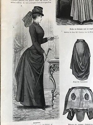 MODE ILLUSTREE SEWING PATTERN April 21,1889 - RIDING COSTUME, TULLE DRESS