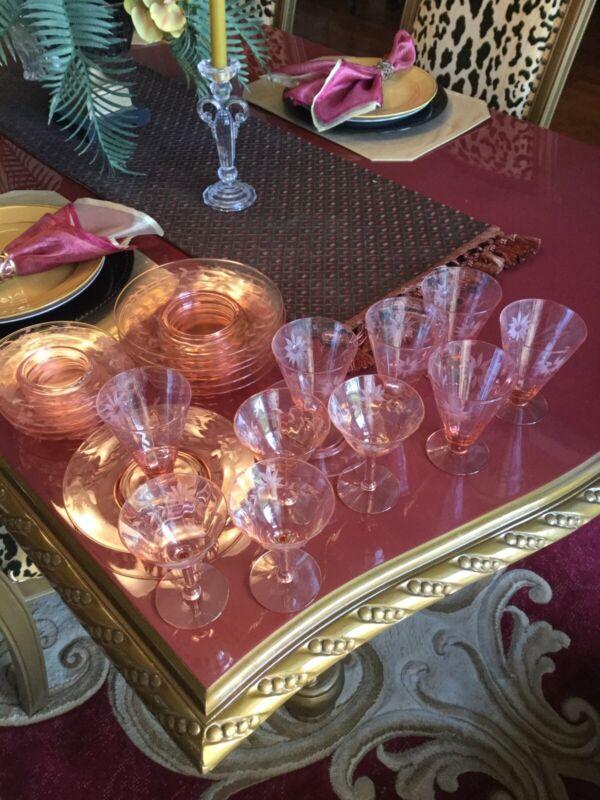 Vintage Depression Glass Set Jubilee Pink By LANCASTER 22 Pieces
