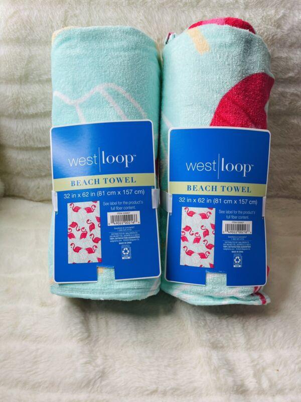 2- New Westloop Towels Pink flamingo 32 X 62 Brand New Beach Towels