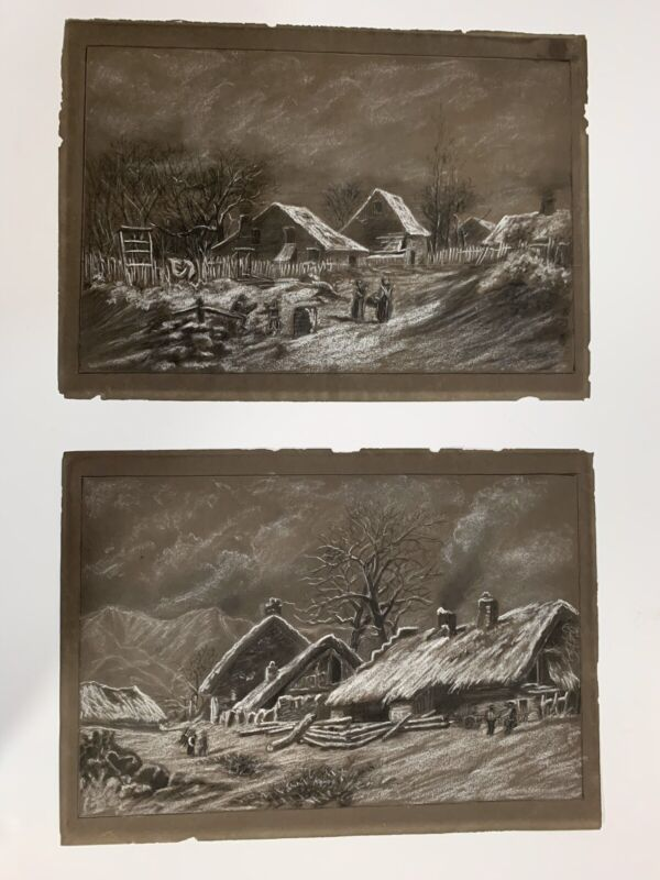 Pair Of Antique Folk Art Winter Scene Drawings Dated 1884