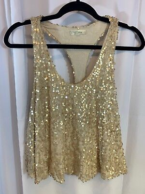 Alythea Womens Cami top shirt sequined Gold racerback Swing  sleeveless small (Sequined Swing)