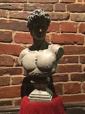 (Large)  8kg AGED MARBLE STATUE OF DAVID BUST  ORNAMENT SCULPTURE