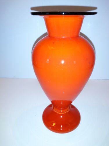 Brilliant Orange Tango Black Rim Glass Vase-Czech Bohemian-Art Deco
