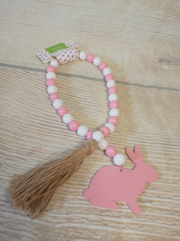 """New! Pink Spring Easter Bunny 31.5"""" Wood Bead Garland Tier Tray Farmhouse Decor"""