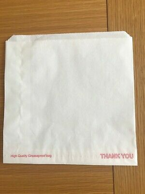 Food White Grease Proof Paper Bags Cafe pack Takeaway Thank You 305 pcs 8