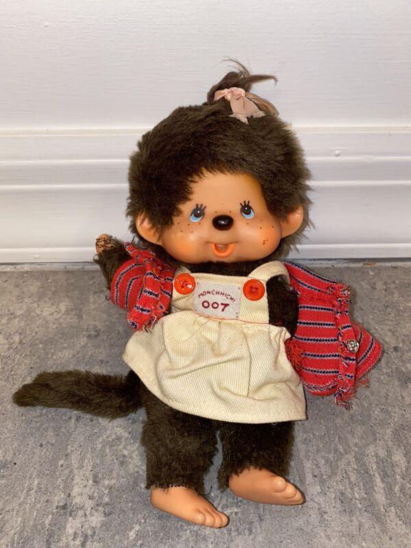 Vintage Monchichi 007 Agent Girl Monkey Doll Stuffed Animal Toy 1974 Sekiguchi