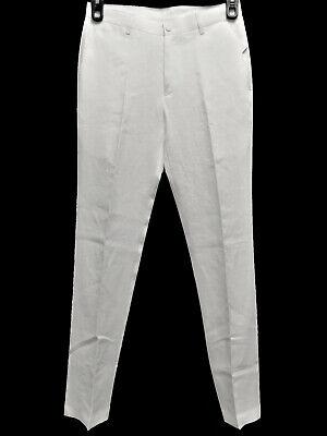 Calvin Klein Men's Classic Slim Fit Solid Linen 4-Pocket Pants, White 31Wx30L