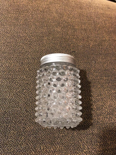 Vintage English Hobnail Clear Glass Round Salt Shaker with Metal lid