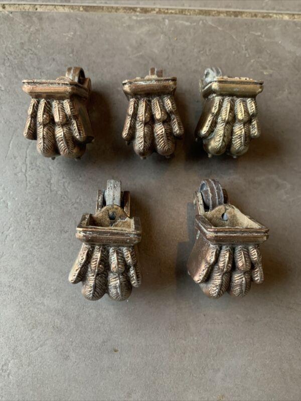 5 Vintage Furniture Lion Feet Roller Castors
