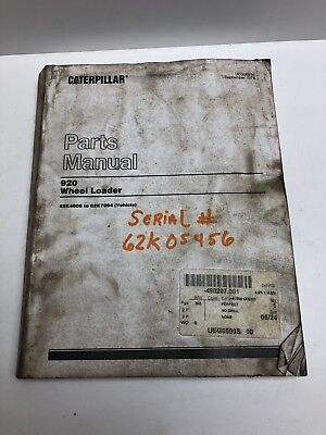 Caterpillar Cat 920 Wheel Loader Parts Manual Sn 62k4606 To 62k7094