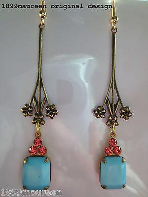 Art Deco Art Nouveau earrings vintage blue rose crystal drop long 1920s style