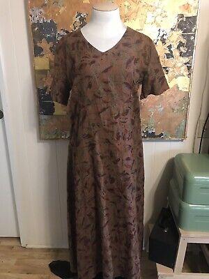 Vintage Tom Tom 100% Linen Short Sleeved Leaf Libby Dress Maxi Dress Size Large