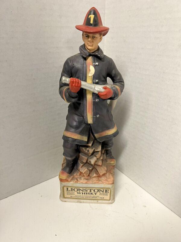 "Lionstone Whisky Porcelain Fireman Decanter #7 1975 13"" tall"